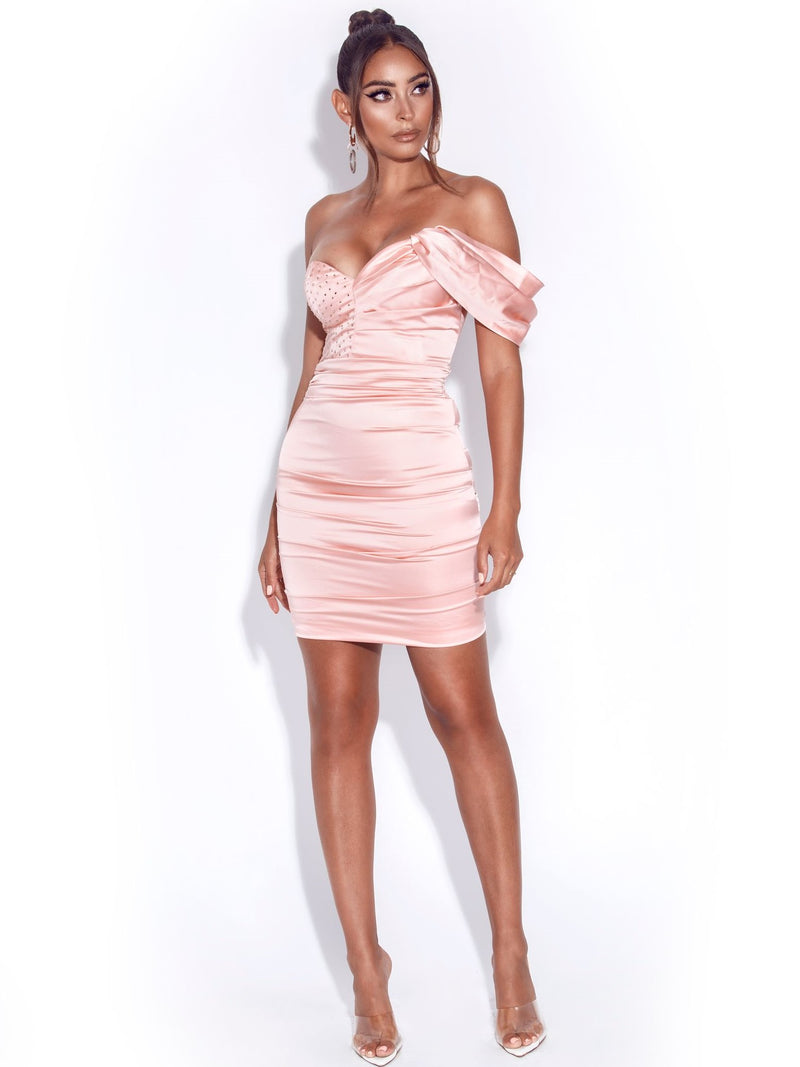 Molly Pink Crystallized Draped Satin Dress