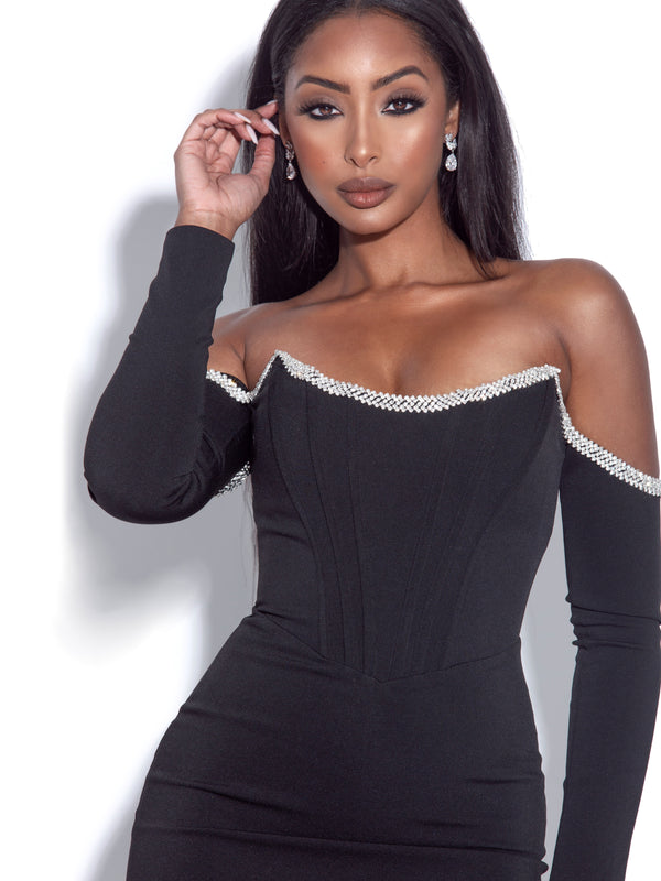 Annika Black Off Shoulder Long Sleeve Corset Dress With Crystal Trim