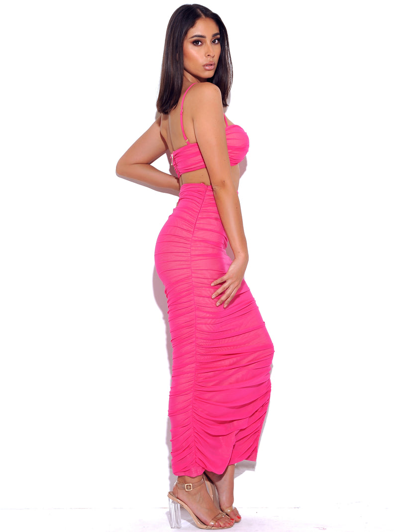 Famous Hot Pink Stretch Mesh Top With Centre Ring - Miss Circle