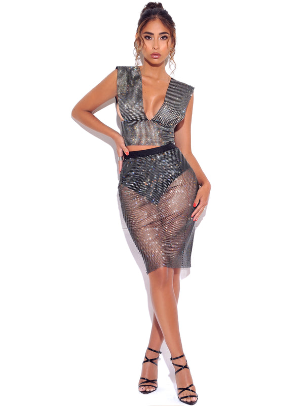 Rhinestone Eyes Fishnet Crystal Skirt - Miss Circle