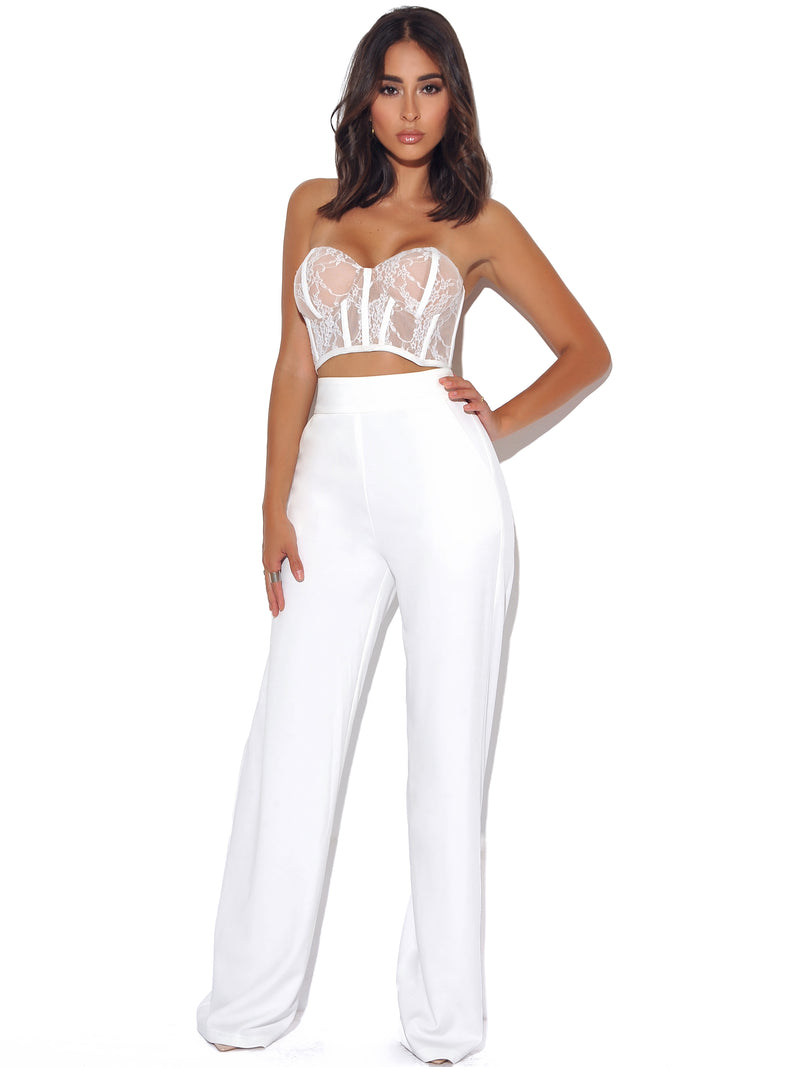 New Romantics Stretch White Lace Cropped Top