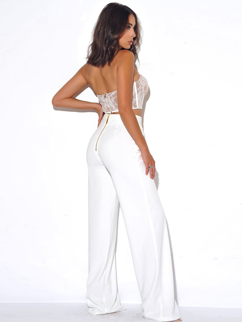Never Enough White Stretch Crepe Wide Leg Trousers