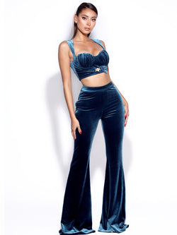 Be Together Steel Blue Velvet Flare Pants