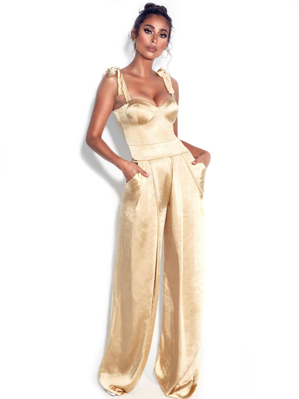 Caprice Gold Satin Corset Jumpsuit With Shoulder Straps Tie