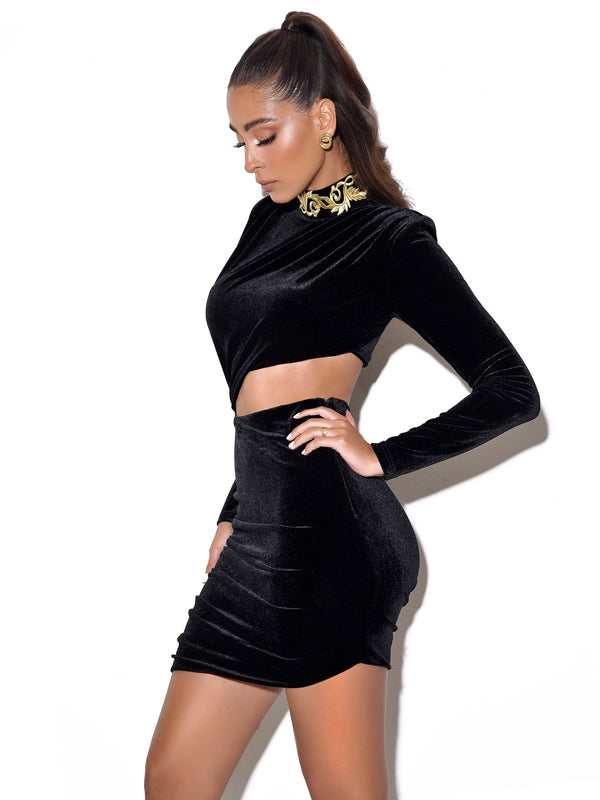 Carlyn Cutout Long Sleeve Black Velvet Dress