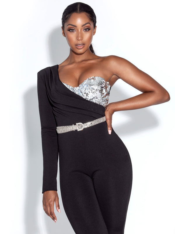 Clara One Shoulder Sequined Crepe Jumpsuit