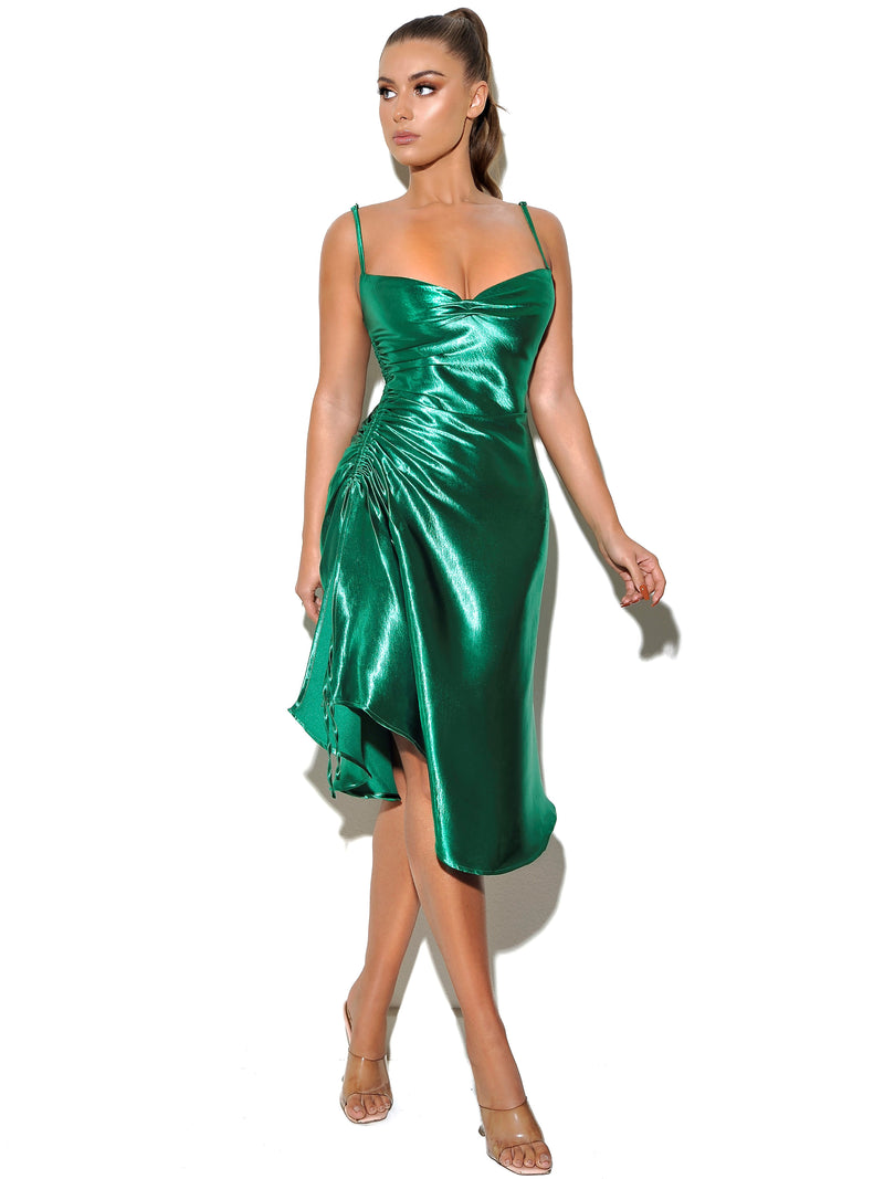 Montego Emerald Green Satin Side Slit Dress