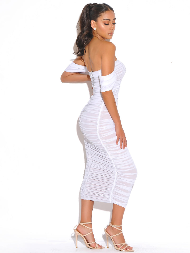 Quenby White Off Shoulder Mesh Maxi Dress - Miss Circle
