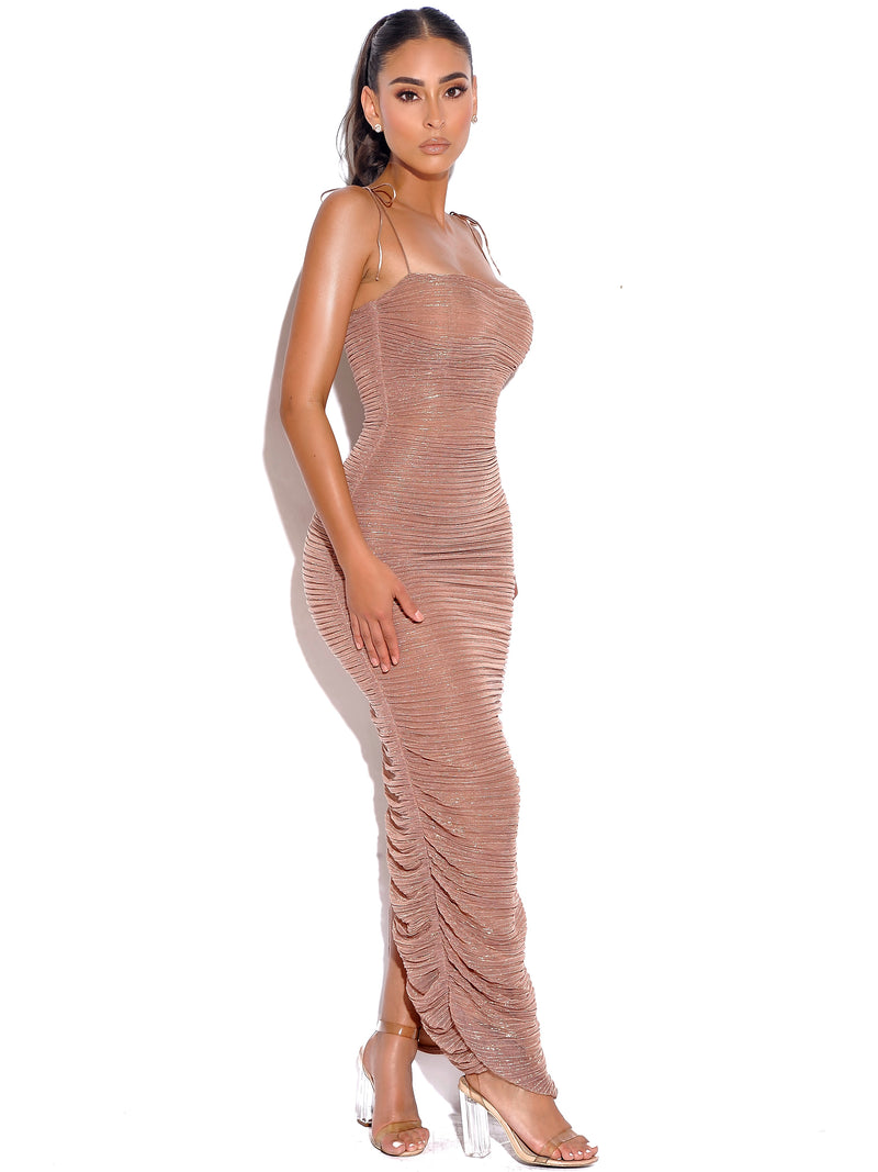 The Glint Rose Gold Ruched Chiffon Long Maxi Dress - Miss Circle