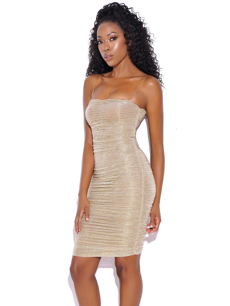 Fall For Love Gold Ruched Chiffon Strappy Dress - Miss Circle