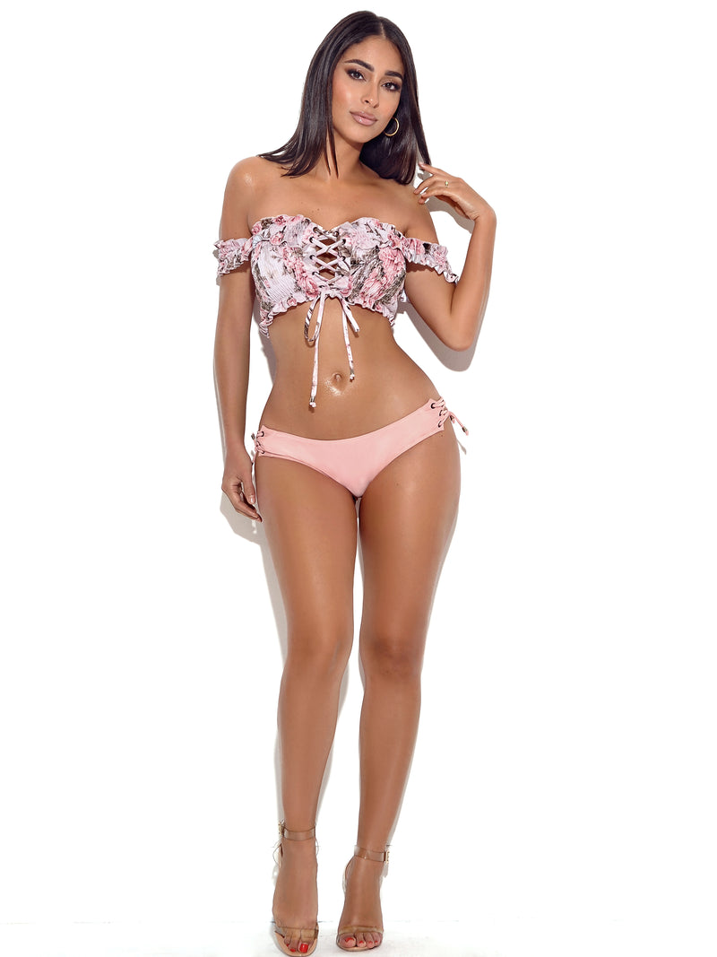 Giverny Off Shoulder Lace Up Floral Lace Up Bikini Set - Miss Circle