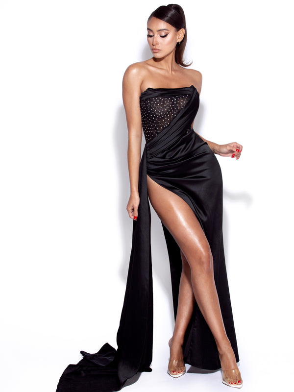 Holly Black Crystallized Corset High Slit Satin Gown