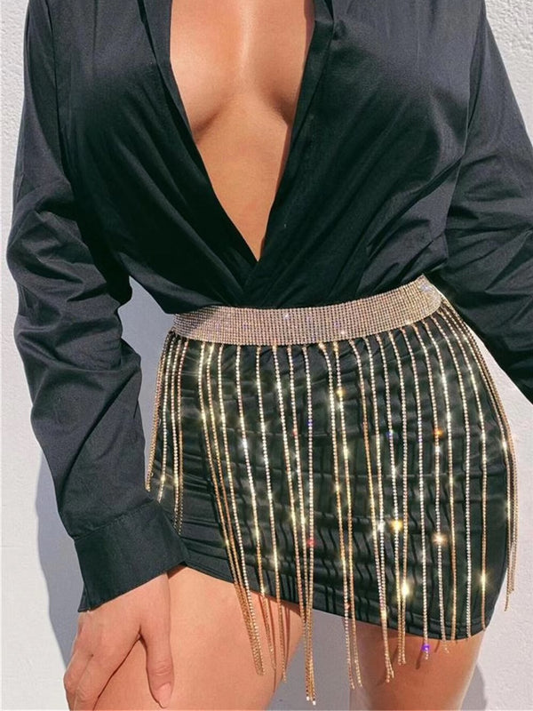 Metallic Crystal Fringe Skirt Waist Chain