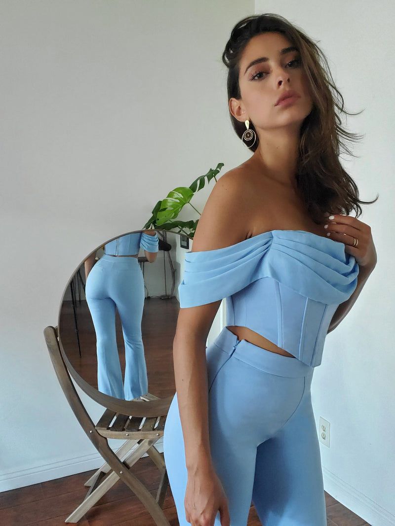 Tia Blue Off Shoulder Corset Top