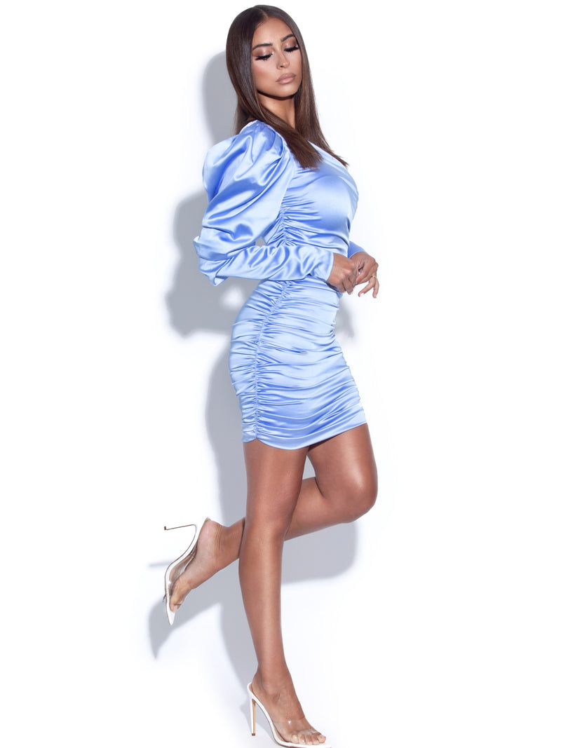 Justina Blue Puff Sleeve Ruched Satin Dress