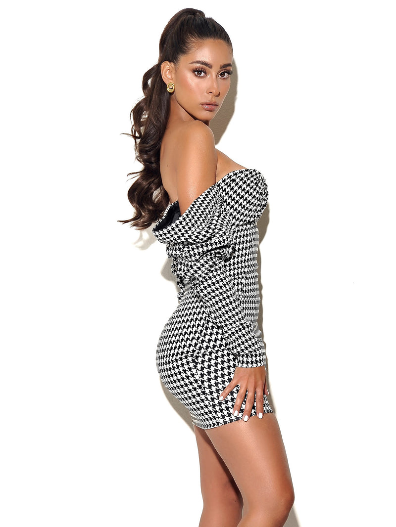 Kylie Puff Sleeve Off Shoulder Houndstooth Dress