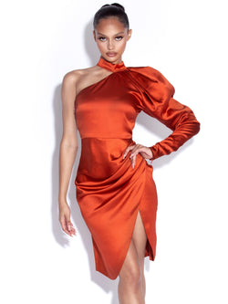 Londyn Puff Sleeve One Shoulder Satin Dress