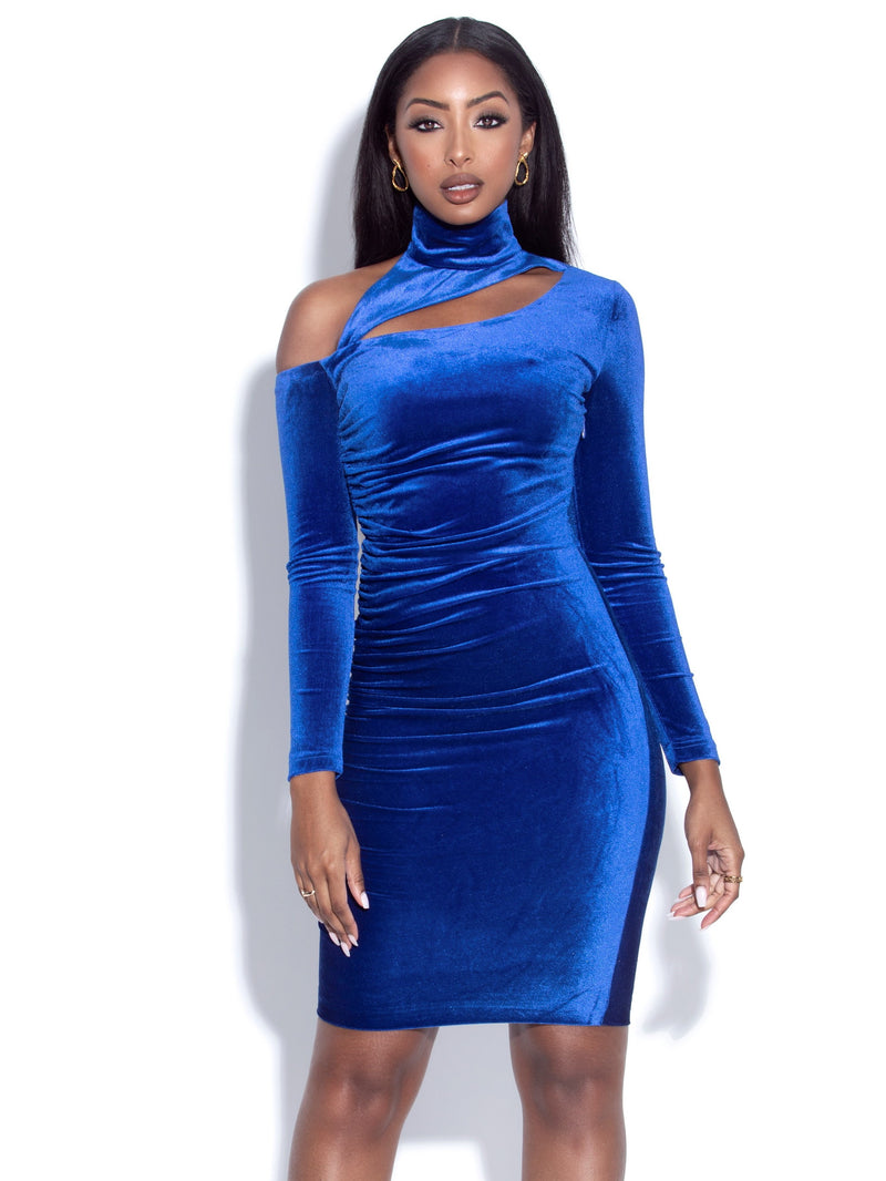 Leila Navy Blue Cutout Long Sleeve Velvet Dress