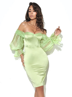 Lydia Lime Satin Off Shoulder Puff Sleeve Dress