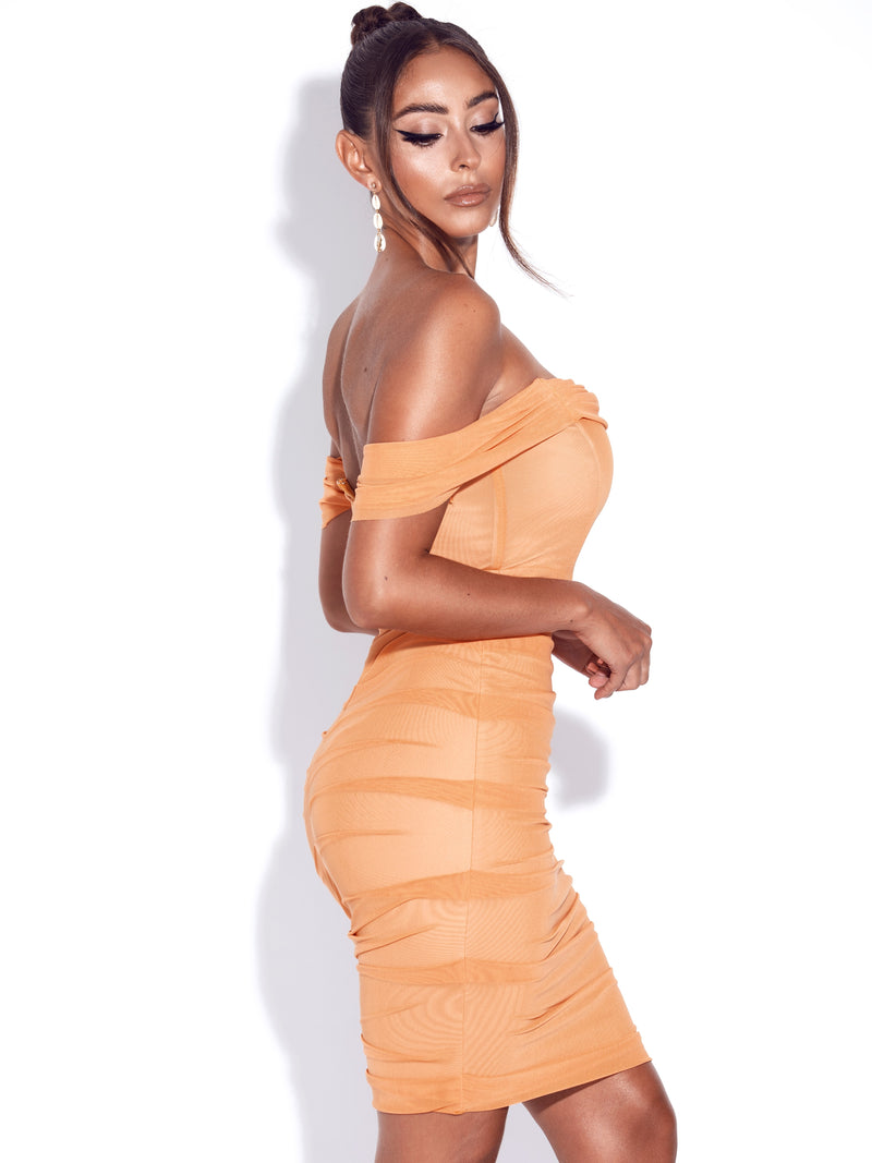 Weslee Orange Off Shoulder Mesh Corset Dress