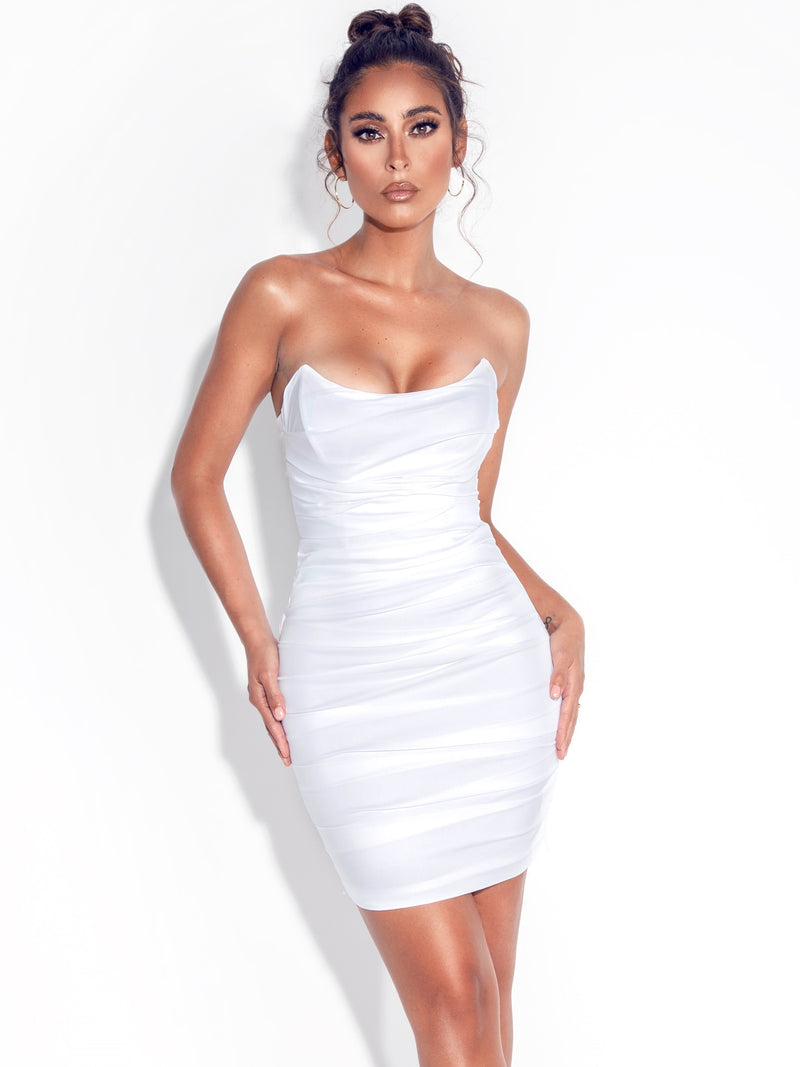 Estella White Corset Ruched Dress