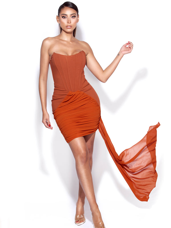 Xela Tan Corset Draping Dress