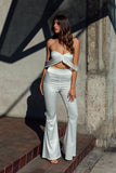 Arabella White Off The Shoulder Satin Two Piece Pantsuit