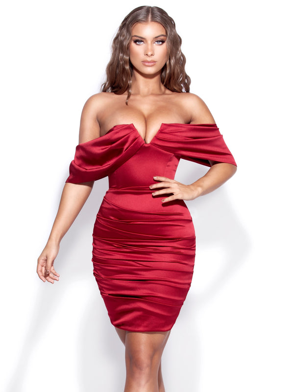 Marlene Burgundy Off Shoulder Draped Satin Dress