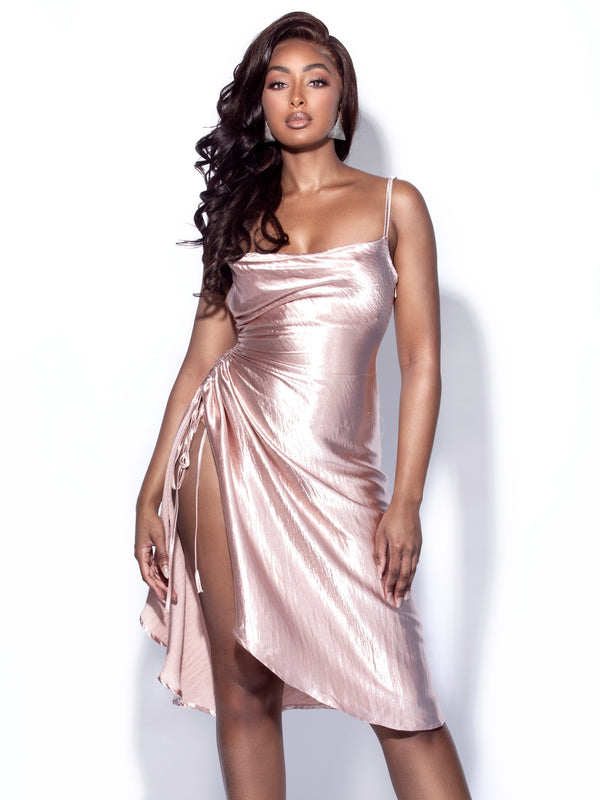 Montego Blush Satin Side Slit Dress