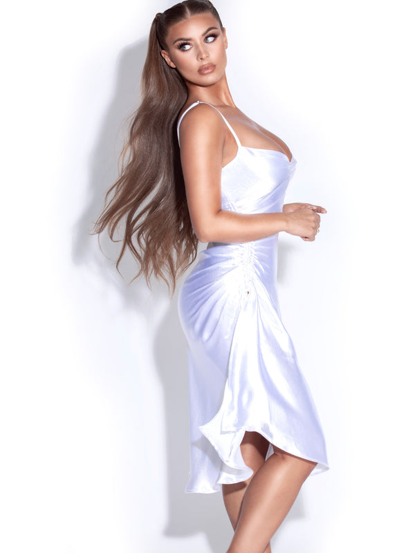 Montego White Satin Side Slit Dress