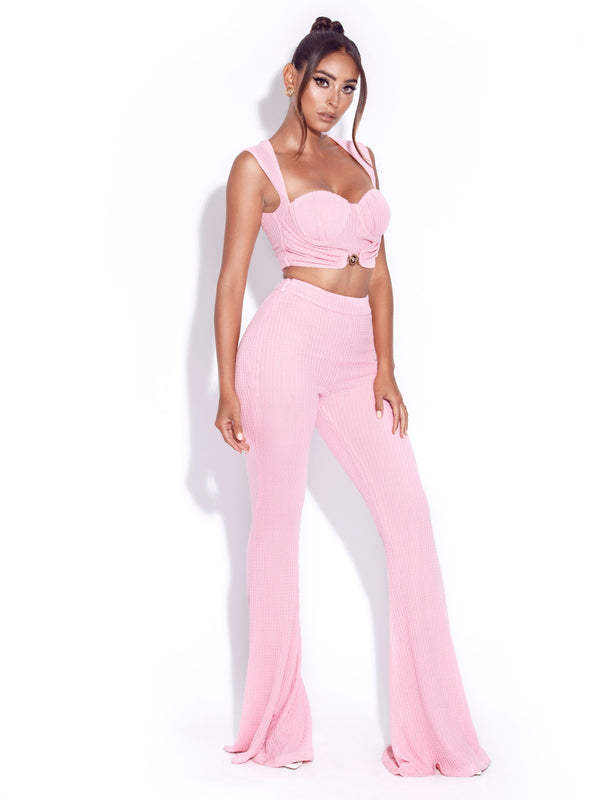 Be Together Pink Stretch Knit Flare Pants