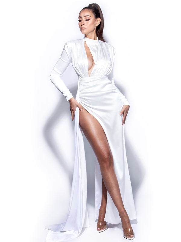 Olivine White Long Sleeve Cutout High Slit Satin Gown