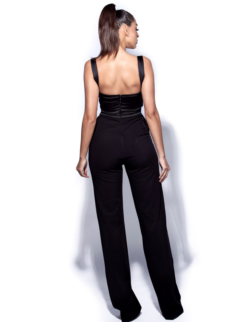 Onika Black Satin and Crepe Jumpsuit