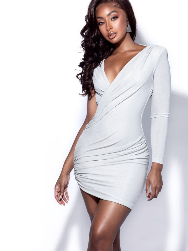 Orida Silver Metallic One Sleeve Backless Dress