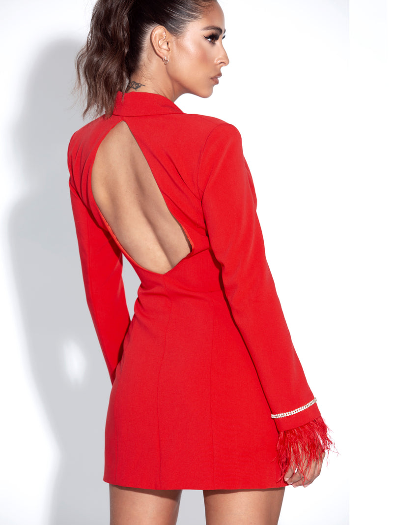 Quilla Red Feather Crystal Sleeve Backless Blazer Dress