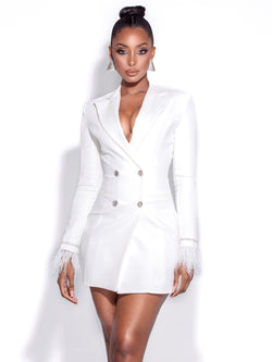 Quilla White Feather Crystal Sleeve Backless Blazer Dress