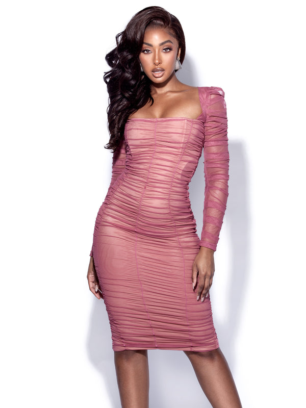 Quinlan Fuchsia Ruched Mesh Long Sleeve Dress