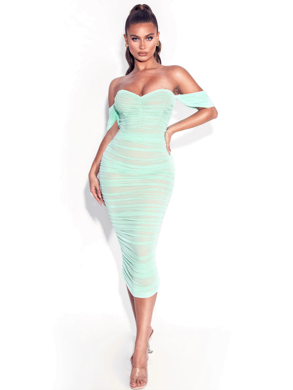 Quenby Teal Off Shoulder Mesh Maxi Dress