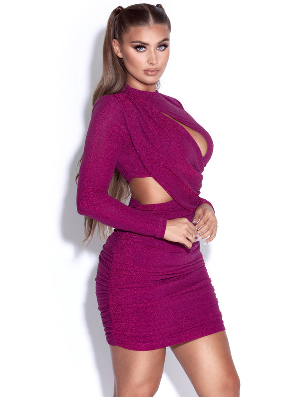 Reva Ruby Pink Metallic Long Sleeve Cutout Dress