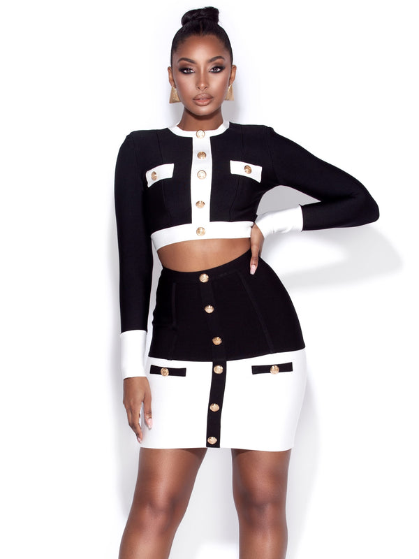 Luda Black and White Long Sleeve Bandage Top
