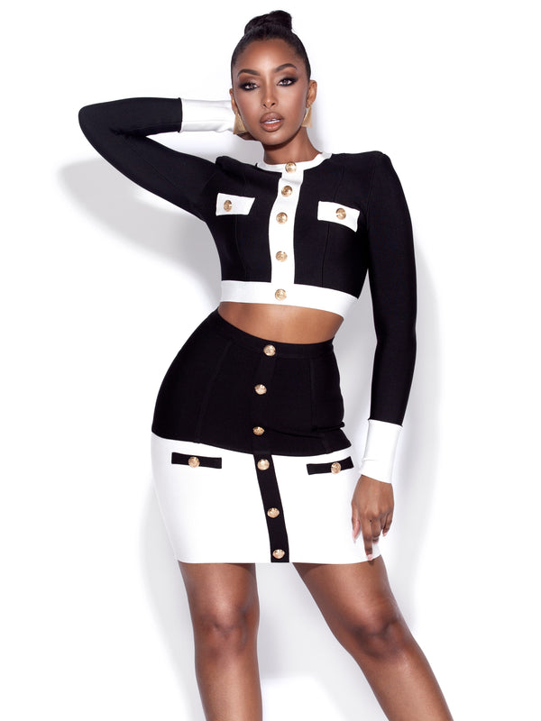 Rhoda Black and White Bandage Skirt