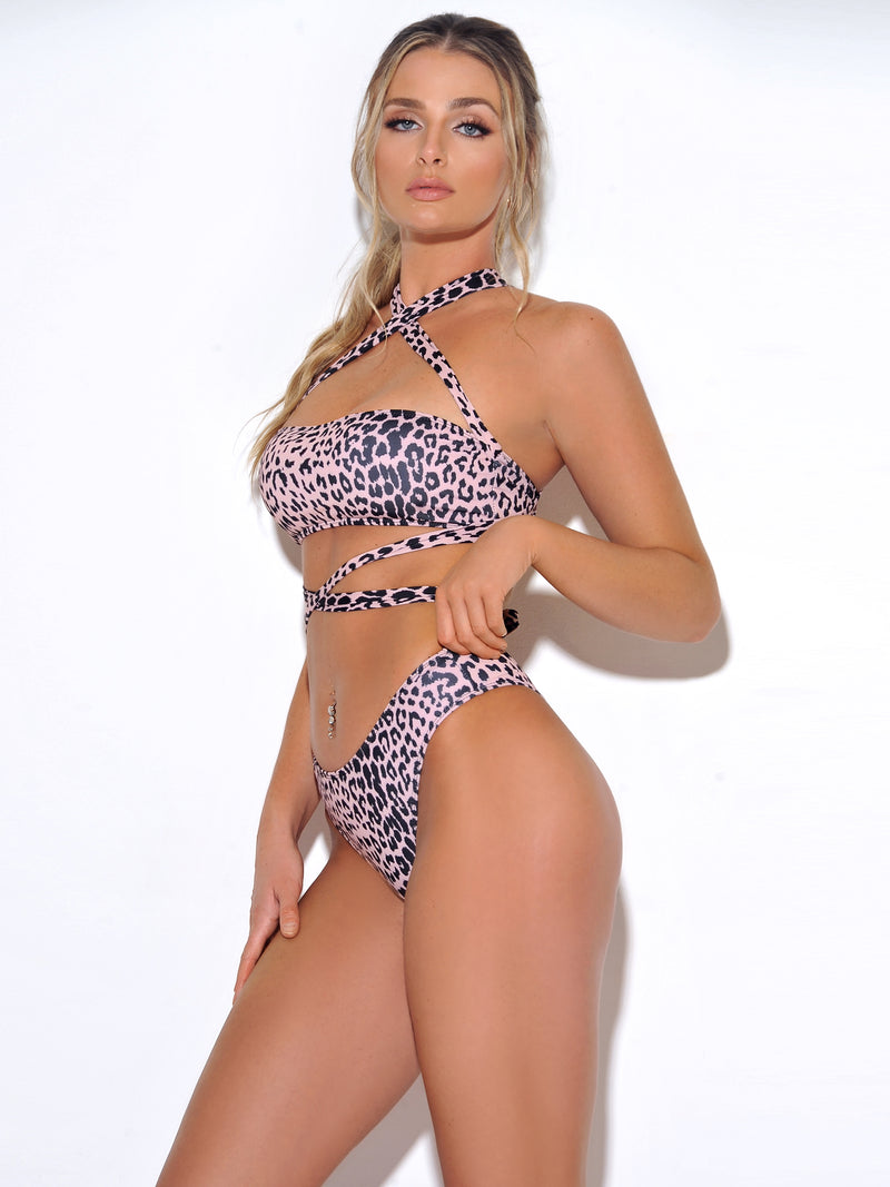 Dalmatian Leopard Wrap Around Cutout Swimsuit - Miss Circle