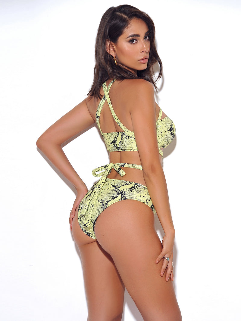 Dalmatian Neon Green Snakeskin Wrap Around Cutout Swimsuit - Miss Circle
