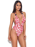 Andros Red Leopard Animal Print Buckle Swimsuit - Miss Circle