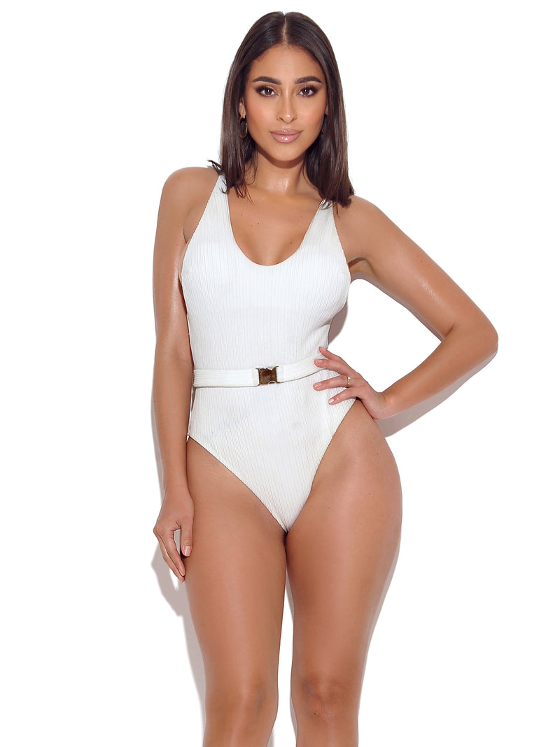 Langkawi One Piece White Swimsuit with Buckle Belt - Miss Circle