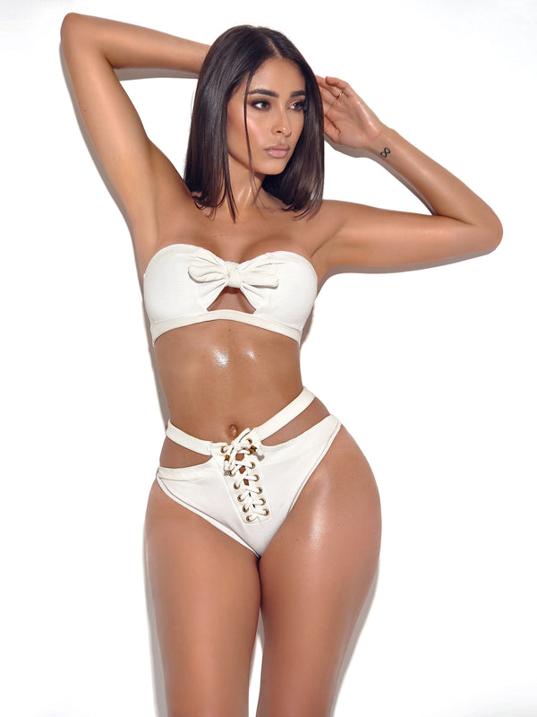 Tahiti White Cutout and Lace Up Bikini Set