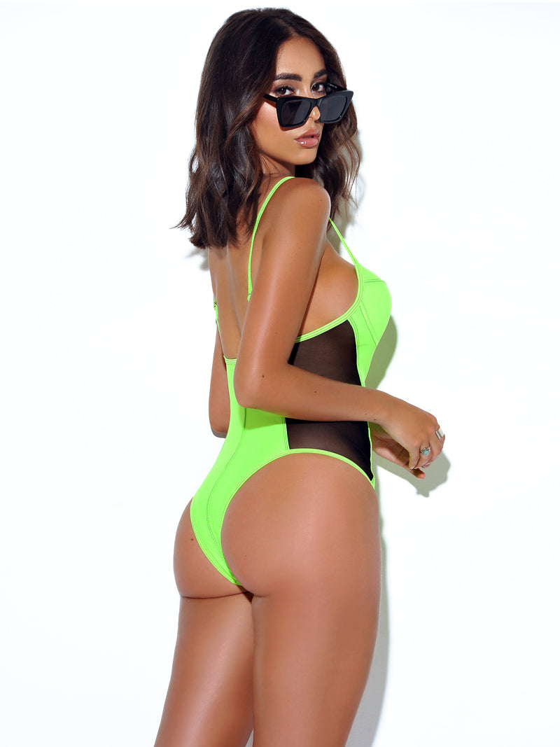 Caicos Neon Green One Piece Swimsuit with Side Mesh - Miss Circle