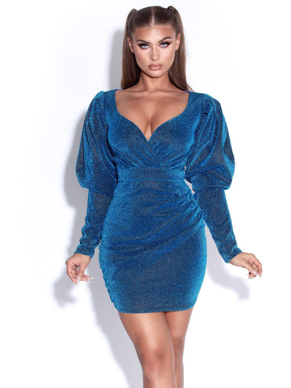 Santana Navy Blue Puff Sleeve Glitter Dress