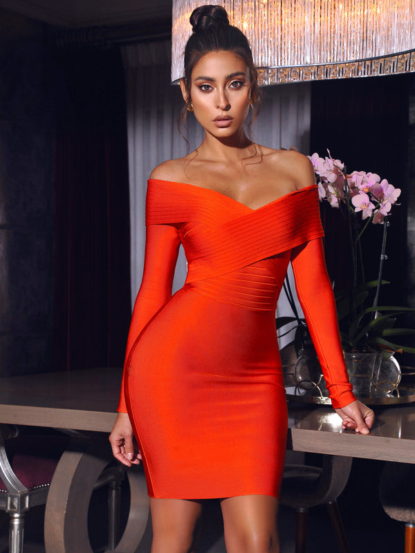 Sierra Orange Off Shoulder Bandage Dress