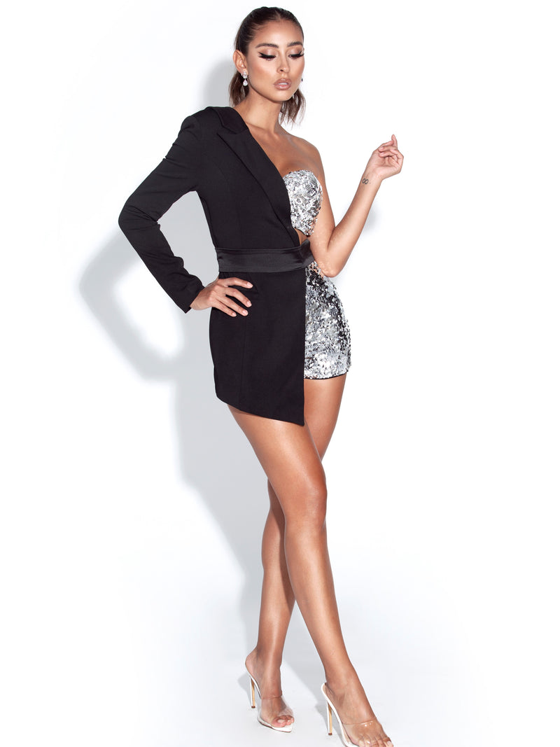 Skylynn Sequin Black One Sleeve Blazer Romper